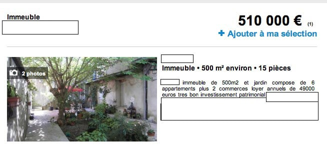 immeuble 49 000 € rapport locatif immobilier-company
